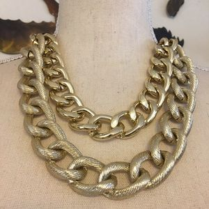 Layered large chain link ribbon cord necklace